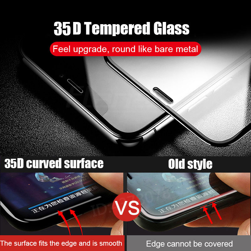 35D Protective Glass on the For iPhone 6 6s 7 8 plus XR X XS glass full cover iPhone Xs Max Screen Protector Tempered Glass