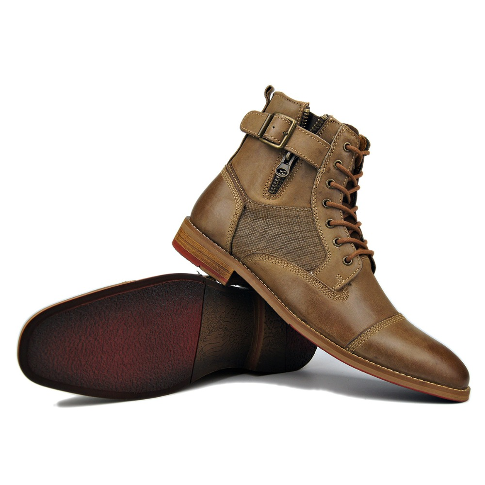Clever Otto Zone Designer New Top Quality Handmade Genuine Cow Leather Ankle Boots Fashion Shoes Boots Men Leather Shoes Winter Boot Motorcycle Boots Men's Shoes