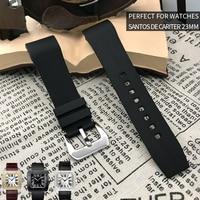 20mm 23mm Rubber Silicone Watch Strap Fashion Sport Needle Buckle Watch Bracelet Pefert for Santos DE Cartier Wristwatch for Men