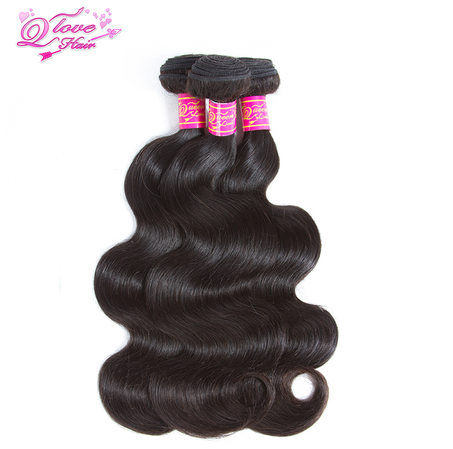 Queen Love Hair Body Wave Hair Extensions Peruvian 100% Remy Human Hair 3 Bundles Free S ...