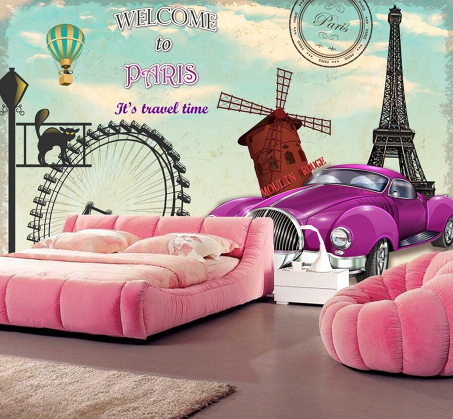 Custom Papel De ParedeParis European Style Vintage Car Wallpapersliving Room Sofa Tv Wall Bedroom 3d Murals