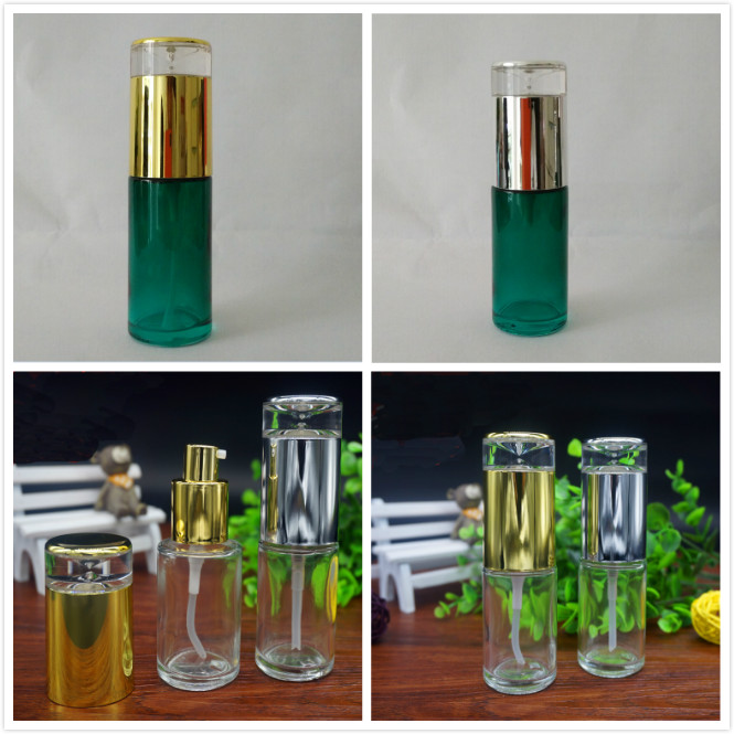 40ML Transparent/green Glass Bottle With Silver/gold Press Pump Mist Sprayer For Lotion/emulsion/serum/toner/toilet/sprayer Pack