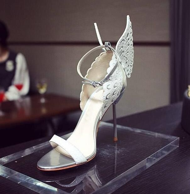 Women Shoes Ankle Peep Toe High-heel Buckle Newest Real Photo Sandals Bling Hotsale Dress Shoes Back Butterfly Wings Silver silver wings silver wings серьги 22ae2227gs r 148