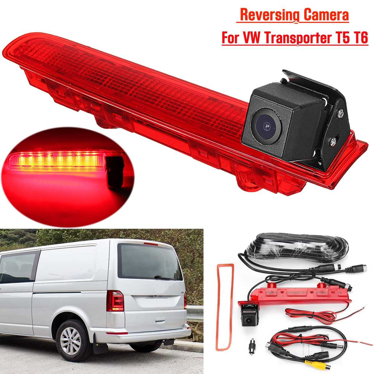 170° Car Reversing Backup Rear View Camera W/Brake Light For VW Transporter T5 & T6 2010-2019