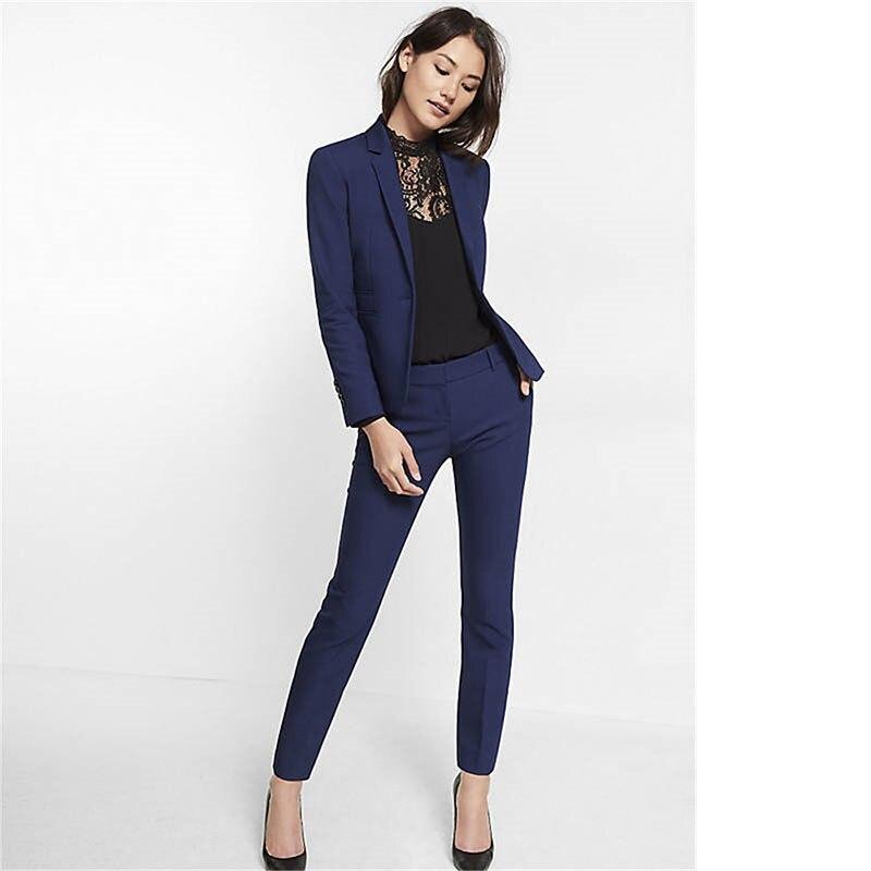 Bleu marine femmes costume Slim Fit femmes Tuxedos châle revers costumes un bouton formel affaires femmes costumes deux pièces ensembles A