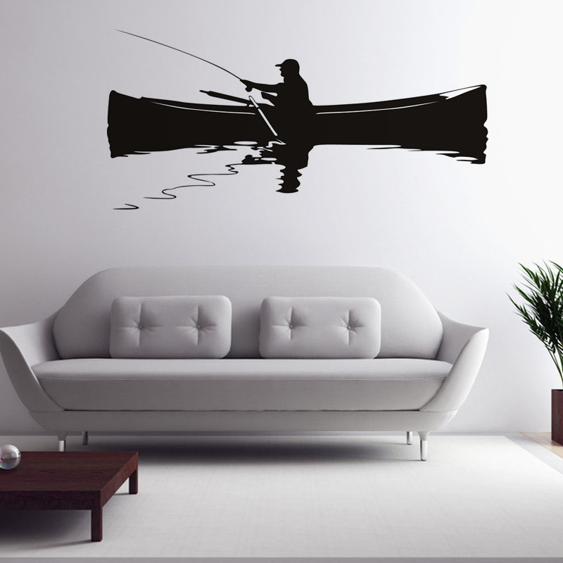 Retro Home Decor Wall Mural A Man Fishing On The Boat Wall Sticker Living Room Background