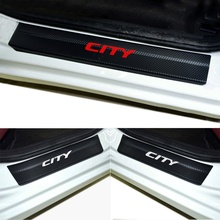 Carbon Fiber Vinyl Sticker Door Sill Scuff Plate Car Accessories Stickers  For HONDA CITY Car Styling