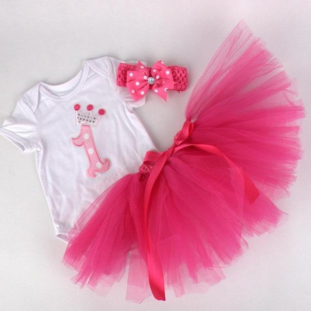 3 pçs/set Terno Bebê Recém-nascido Primeiro Aniversário Da Menina Roupas de Algodão de Manga Curta Romper/jumpsuit + Tutu Vestido + Headband Roupas infantis