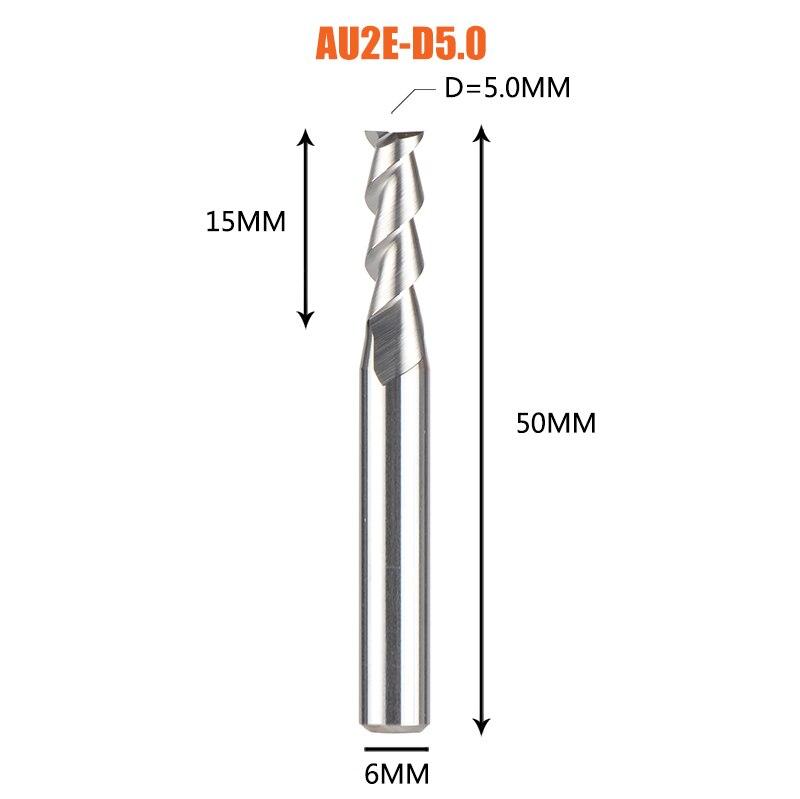 1 pc 3 флейты фрезы вольфрамового сплава концом ЧПУ фреза алюминий фреза для алюминия и деревообрабатывающие - Длина режущей кромки: 1PC-AU2E-D5.0-H6