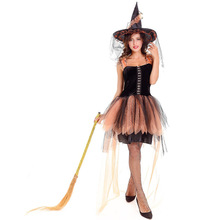 New Halloween Costume the Jungle Elf Cosplay Masquerade Costume Stage Performance Orange Witch Lace Dress Exotic 10026H284