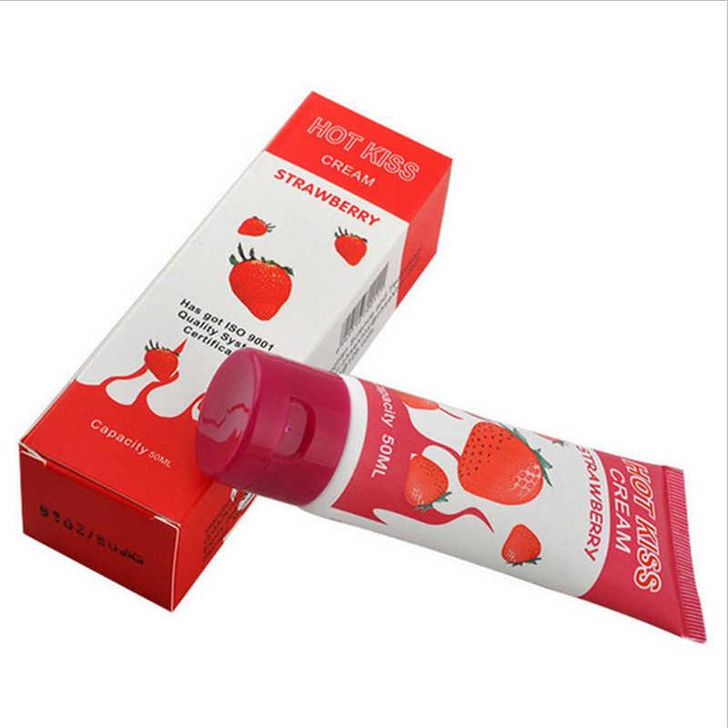 Ciuman Hot Strawberry Rasa Dimakan Pelumas Hubungan Pria Wanita Cream Oral Seks Pelumas Gel Anal Lube Mainan Seks