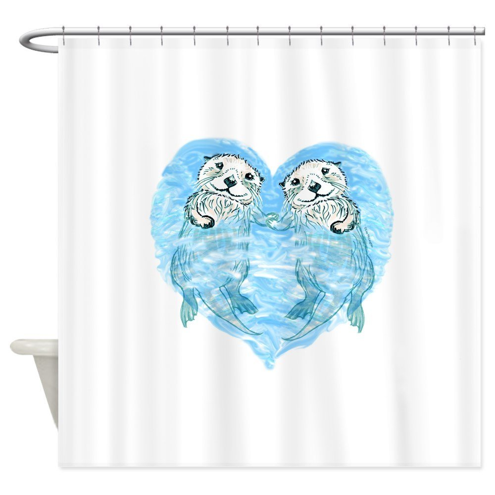 Sea Otters Holding Hands - Decorative Fabric Shower Curtain (69x70)