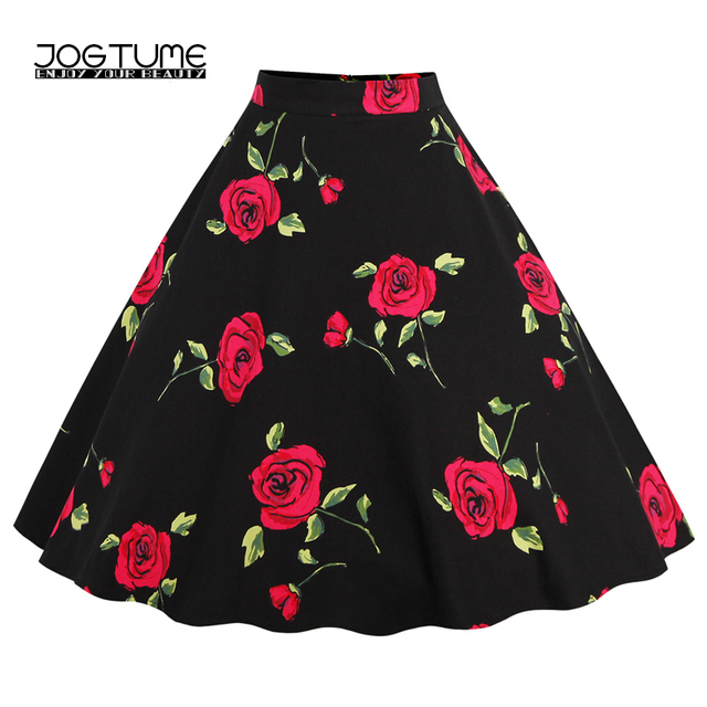 Jogtume Women Vintage Skirt Falda Skater Fashion Rose Print Polka Dot High Waisted Feminine Pleated Skirts Plus Size (S 4 Xl) by Jogtume