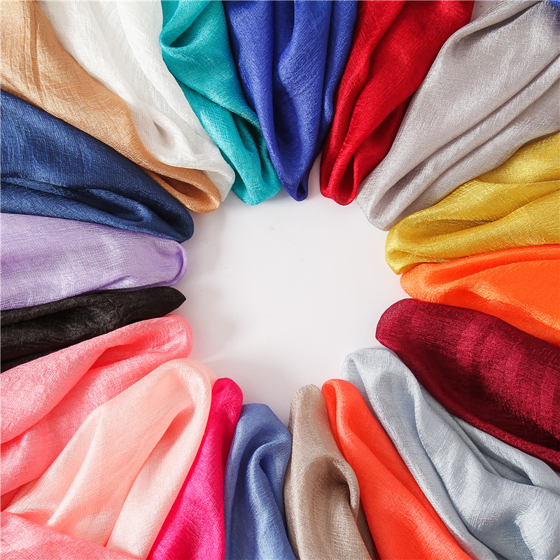 2018 Solid Women Scarf Summer Silk Scarves Lady Shawl And Wrap Soft Long Size Pashmina Hijabs Headband