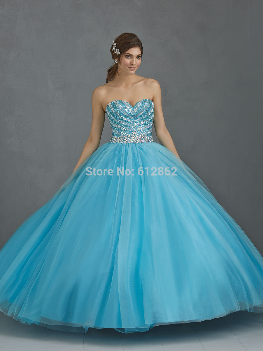 Popular Blue Puffy Prom Dress-Buy Cheap Blue Puffy Prom Dress lots ...