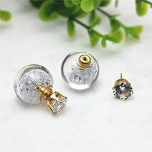 Brand Jewelry Crystal Flower jewelry girl cute brincos Imitation diamonds Doubled Side Stud Earrings Earring For Women