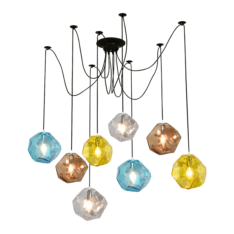 Ice cube glass pendant light creative glass shape post modern hanging lamp grey yellow blue droplight E14 LED bulb 5W warm white post modern creative 20 head pendant light toolery e14 3w led bulb warm droplight living dining room home decoration fixture