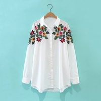 2017 Women Embroidered Blouse Flower Pattern Long Sleeve High Quality Fashioin Casual Shirts White