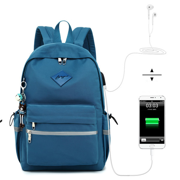 Us 19 67 37 Off Waterproof Bookbag Backpack Women Headphone And Charging Interface High School Student Backpacks Bag For Agers S In