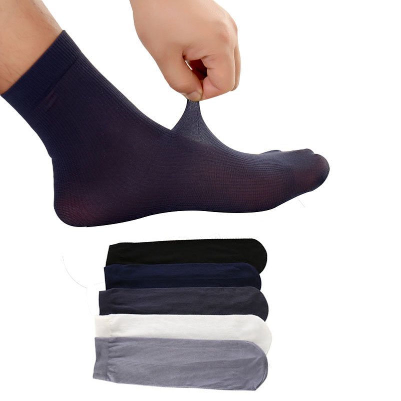 10pairs Men Short   Socks   Pure Color Ultra-thin Elastic Silky Man   Socks   Summer Autumn High Quality Casual Business Male   Sock   Meias