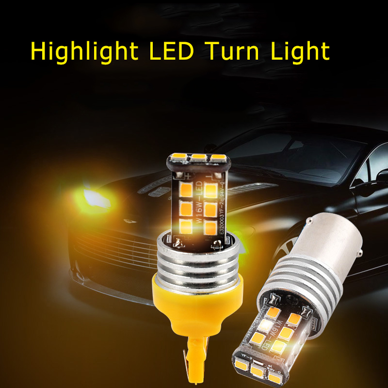 BAOBAO T20 W21W Car Signal Turn Light LED Bulb 15W 1156 P21W Super Bright Yellow Turn Brake Lamp 2835 LED Chip Signal Lamp in Signal Lamp from Automobiles Motorcycles