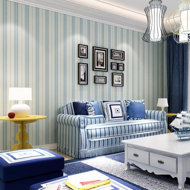 US $41.5 37% OFF|Beibehang Moderne minimalistischen Mediterranen blaue  tapete wohnzimmer schlafzimmer tapeten braun vertikale streifen retro ...