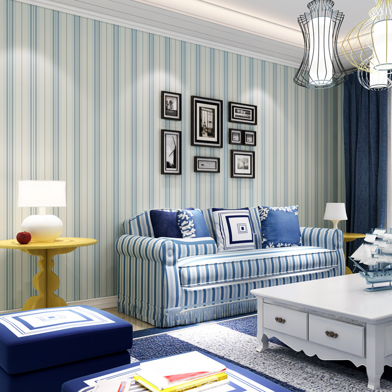 US $40.19 39% OFF|Wellyu Moderne minimalistischen Mittelmeer blaue tapete  wohnzimmer schlafzimmer tapete braun vertikale streifen retro  hintergrund-in ...