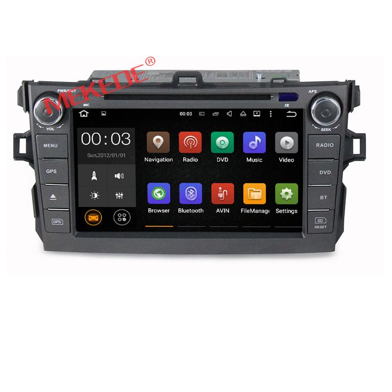 2 din Android7.1 car dvd player for Toyota Corolla 2007 2008 2009 2010 2011 Quad Core 8 inch 1024*600 screen car stereo radio