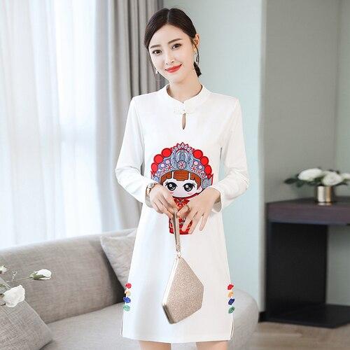 Derss Vintage Femmes Noir Characto Chinois Mode Longues Robe À rouge Blanc Style blanc Broderie La Manches Taille Plus Cheongsam IZqCSqw