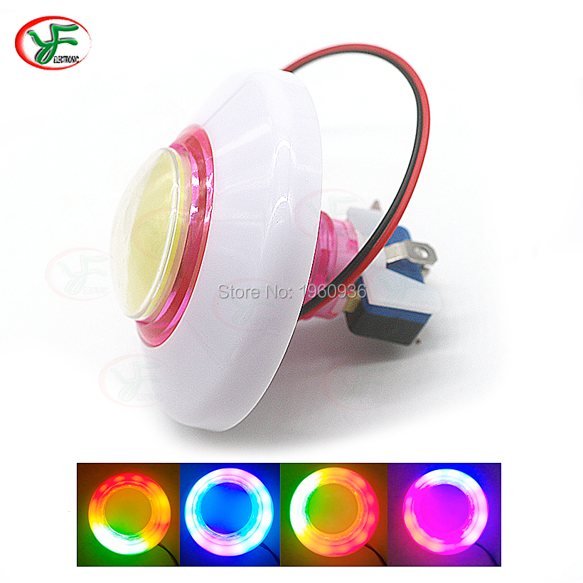 76MM RGB flashing Light Button DC12V Colorful LED illuminated Push button micro switch for Arcade crane machine DIY
