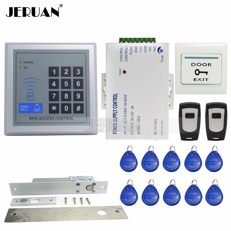 High quality RFID Door Access Control System Kit Set + Drop Bolt Door Lock +Rfid Keypad + Power + 2 Remote Free Shipping diysecur magnetic lock door lock 125khz rfid password keypad access control system security kit for home office