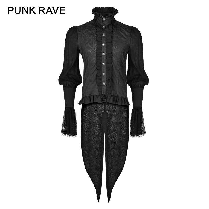 c4d835bd PUNK RAVE Gothic Dovetail Black Shirt Lace Puff Sleeves Brocade  Swallow-tailed Men Shirts Halloween