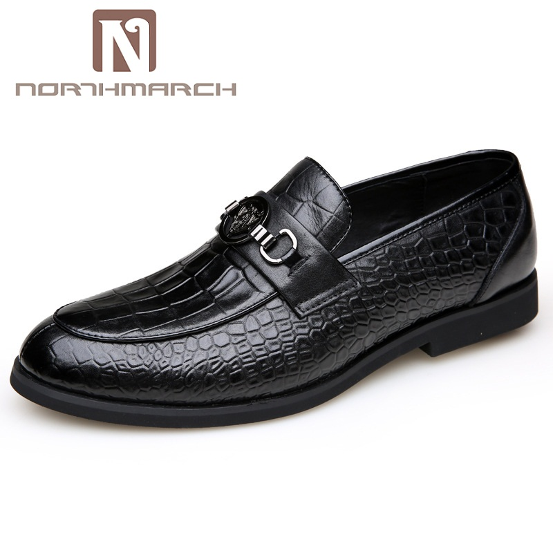 NORTHMARCH New Slip-On Men Formal Shoes Basic Dress Shoes Genuine Leather Shoes Men Fashion Crocodile Grain Men Flats Sapato 2016 new arrival top quality men s slip on basic oxfords real cowhide leather formal wedding dress shoes men sapato masculino 46