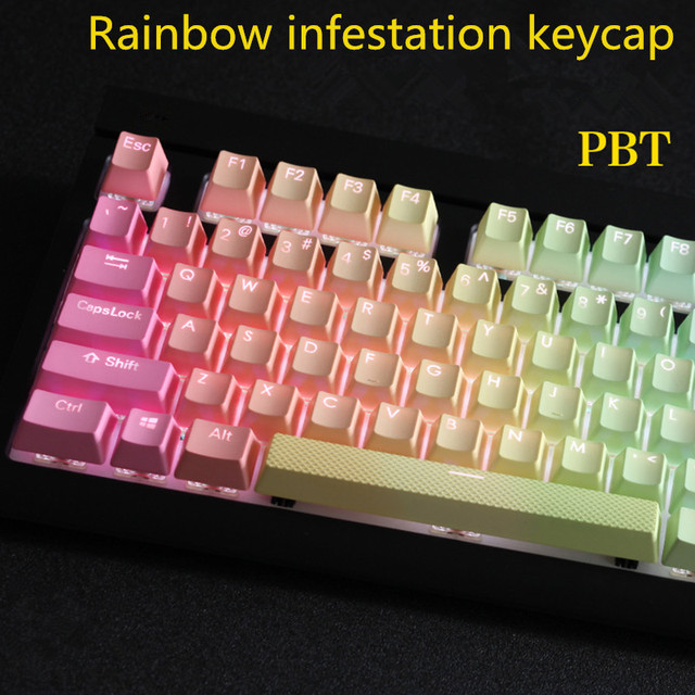 277144a5f1b 108 key PBT Double shot Backlit Rainbow Keycap For Corsair STRAFE K65 K70  Logitech G710+ Mechanical gaming Keyboard