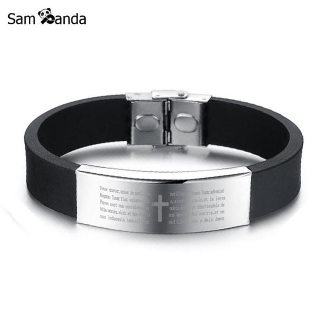 4ae52e0b8840 Jesús Cruz de acero inoxidable pulseras y brazaletes para hombre negro  genuino de silicona moda Vintage