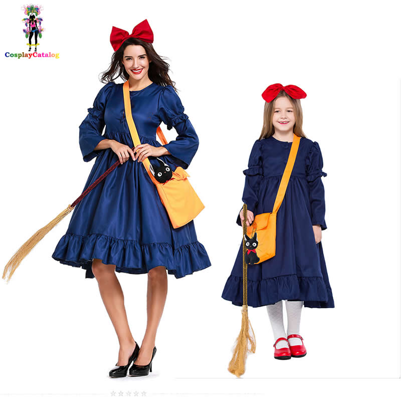 Kiki's Delivery Service Adult Women Cosplay Dress Kid's Kiki Costumes Girl Little Witch Costume Children Clothes Size XXS-XL