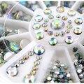 400 Pcs Dicas Da Arte do Prego AB Pedrinhas Decoração 3D Tamanho Misto roda Glitter Gems Projeto Redondo Bling Pedra De Cristal Da Arte Do Prego ferramentas