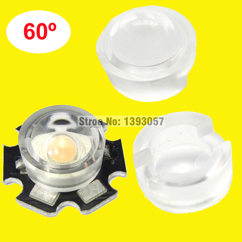 50pcs/lot 13mm LED mini Lens 15 30 45 60 90 100 Degree Needn't Holder 1W 3W synthetical IR LED Power lenses Reflector Collimator