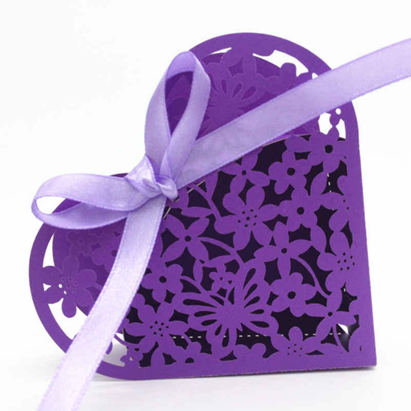 Wedding favors heart shape floral favor box laser cut wedding decorations baby shower candy boxes party