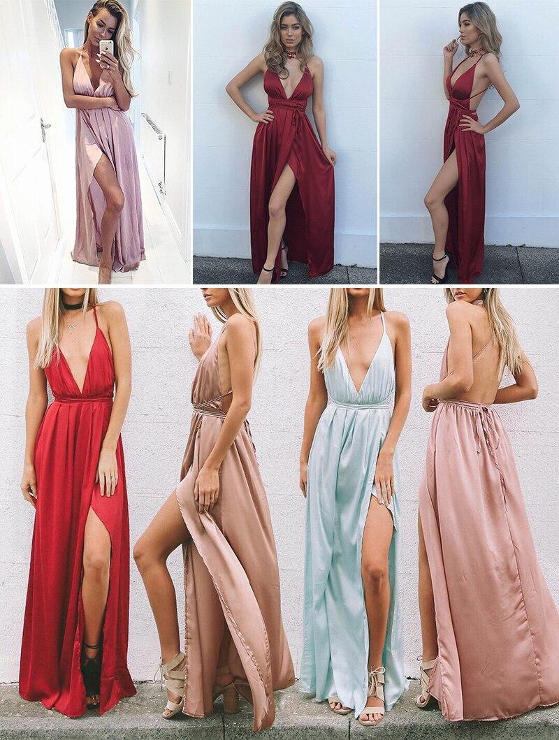 HTB1VpcINFXXXXaLapXXq6xXFXXXW - Off Shoulder Sexy Deep V Neck Beach Style Women Dress Strap Backless Maxi Long Evening Party Dresses JKP028