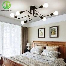 4 6 8 رؤساء Vintage الصناعية لوفت مصابيح السقف الحديد المطاوع متعددة ضوء ديكور مقهى بار تركيبة إضاءة داخلية