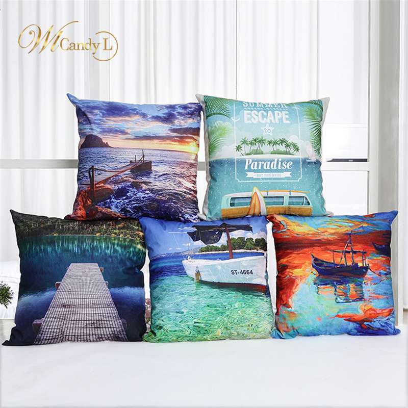 WL Candy L Scenic Series Cushion Cover Beach Sunrise Boat Lakes Throw Pillow Sofa Decorative Beige Pillows Cover Cojines