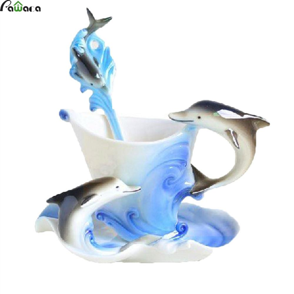 1 Pcs Dolphins Coffee <font><b>Cup</b></font> <font><b>Ceramic</b></font> Creative <font><b>Mugs</b></font> Bone China 3D Color Enamel <font><b>Porcelain</b></font> <font><b>Cup</b></font> with Saucer <font><b>and</b></font> Spoon Coffee Tea Sets
