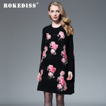 Chinese traditional clothing women wool knitted sweater dress winter vintage royal embroidery elegant loose party dress 3XL H054