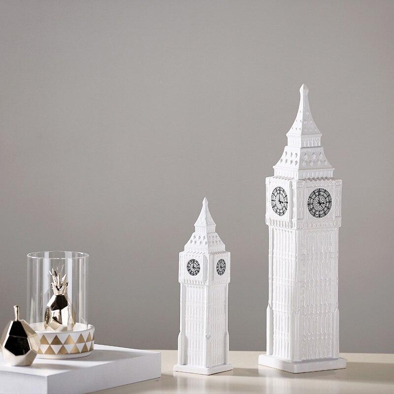 Europeo Big Ben pagoda di Ceramica Campana Bianco torre Artigianato desktop da ufficio creativo di ceramica Architettura pendolo Regali
