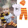 Baby Boys Girls Clothes Set Romper Short Sleeve Cute Pants Hat Striped 3PCS Outfit Set Clothing 0-18M