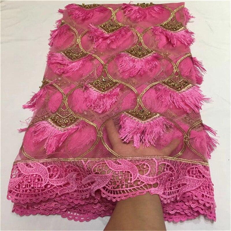 Nowy projekt afryki koronki tkaniny 2018 koronka wysokiej jakości nigeryjczyk koronki tkanina z koralikami tiul z haftem francuski koronki do sukni w Koronka od Dom i ogród na  Grupa 1