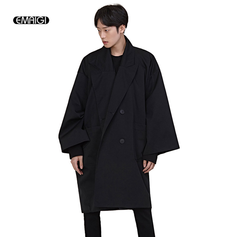 Men Autumn New Fashion Double Breast Loose Trench Jacket Male Oversize Long Windbreaker Outerwear Cardigan Jacket
