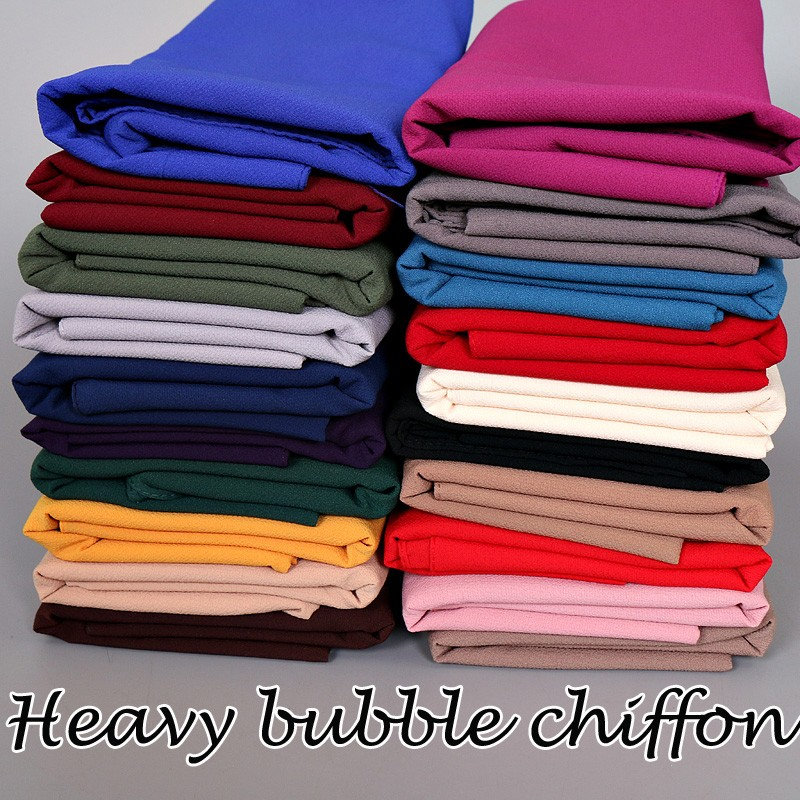 (12 pieces/lot) 2017 High quality heavy bubble chiffon plain big thick muslim scarfs shawls,islamic hijab GYW22
