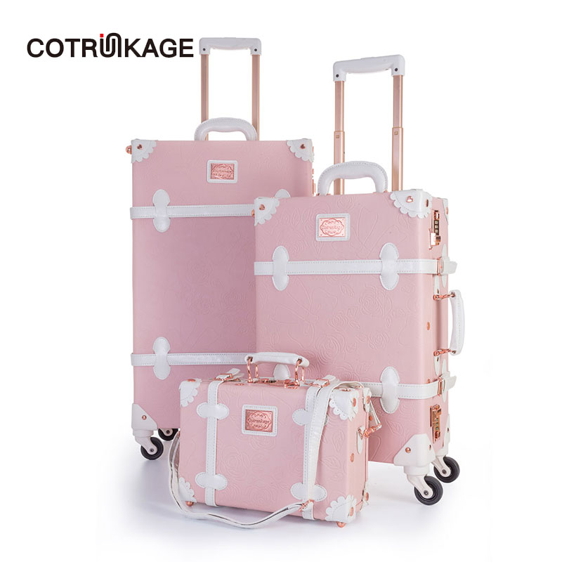 COTRUNKAGE Cute 13 20 26 Embossed Pink Carry On Suitcase Ladies Pu Leather 3 Piece Vintage Luggage Sets for Women with WheelsCOTRUNKAGE Cute 13 20 26 Embossed Pink Carry On Suitcase Ladies Pu Leather 3 Piece Vintage Luggage Sets for Women with Wheels
